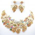Retro Clear Monkey Elephant Leopard Necklace Earring Set Swarovski Crystal 3163A