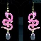 New Dangle Cute Dragon Pierced Earring W/ Pink Rhinestone Crystals FA2853