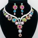 Beautiful Flower Necklace Earring Jewelry Set Women Mix Rhinestone Crystal 00329