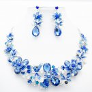 Rhinestone Crystals Blue Dragonfly Flower Necklace Jewelry Sets Women Party 5394
