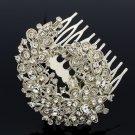 Siamesed Rhinestone Crystal Flower Bud Comb Headband Wedding Bridesmaid 4665