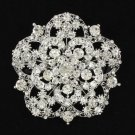 """Pretty Flower Brooch Pin 2.4""""Wedding Bridal Prom Jewelry Rhinestone Crystal 3809"""