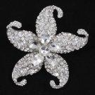 Charming Clear Starfish Brooch Braoch Pins Women Bridal Rhinestone Crystals 4824