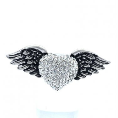 Current Cute Wings Clear Rhinestone Crystals Heart Brooch Broach Hat Pin