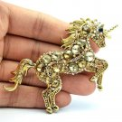 "Exquisite Brown Rhinestone Crystals Unicorn Horse Brooch Broach Pin 3.3"" 6172"