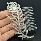 Graceful Rhinestone Crystal Feather Drop Hair Comb Bridal Wedding Jewelry FA3275