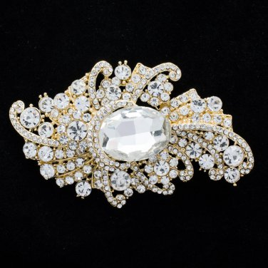 "Bridal Wedding Chic Drop Flower Brooch Pin 3.7""Rhinestone Crystal Gold Tone 4514"
