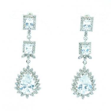 Nice Bridal Dangle Pierced Flower Earring Zircon Women Rhinestone Crystals 10674