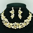 Wedding Rhinestone Crystals Gold Tone Flower Butterfly Necklace Earring Set 6154