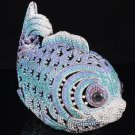 Blue Fish Clutch Evening Handbag Purse Bag with Swarovski Crystal for Prom Party