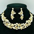 Clear A/B Rhinestone Crystal Flower Butterfly Necklace Earring Jewelry Sets 6154