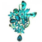 "Vivid Chic Blue Ziron Drop Flower Brooch Broach Pin 3.4"" Rhinestone Crystal 5997"