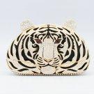 Clear Swarovski Crystals Tiger Tigress Clutch Women's Evening Bag Purse Handbag