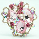 Wonderful Spring Jewelry Pink Rhinestone Crystal cloud Flower Brooch Pin 8806457
