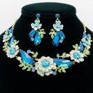 Sea Blue Rhinestone Crystals Drop Leaf Flower Necklace Earring Jewelry Sets 6703