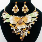 Topaz Leaf Flower Necklace Earring Set Teardrop Rhinestone Crystal Women Jewelry