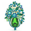 "3.1"" VTG Style Green Rhinestone Crystals Flower Brooch Broach Pin Jewelry 5844"