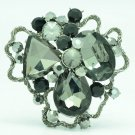 Black Cloud Flower Brooch Broach Pins Rhinestone Crystals Women Jewelry 6457