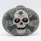 Fabulous Black Skull Bone Clutchs Handbags Purse Bags Evening Swarovski Crystals
