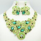Fabulous Coil Flower Necklace Earring Sets Green Rhinestone Crystals 00617