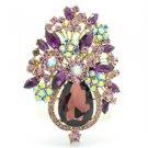 """Blink Grape Purple Rhinestone Crystal Flower Brooch Pin 3.1"""" Women Jewelry 5844"""