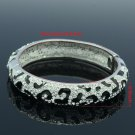 Excellent Swarovski Crystal Black Leopard Grain Bracelet Bangle Cuff Enamel 1682