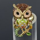 Animal Bird Cute Brown Owl Cocktail Ring Adjustable Swarovski Crystals SR1894A-1
