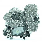 Cute Black Butterfly Flower Brooch Broach Pins Rhinestone Crystals Animals 6407