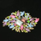 "Colorful Multicolor Flower Brooch Broach Costume Pin 3.7""Rhinestone Crystal 4079"