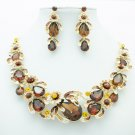 Brown Rhinestone Crystal Drop Flower Fruit Necklace Earring Jewelry Sets 5396