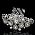 Imitated Pearl Flower Hair Comb Rhinestone Crystals for Bridal Wedding 1466R1