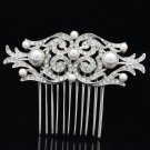Smart Bridal Wedding Pearl Flower Hair Comb Headband Rhinestone Crystals 1458R