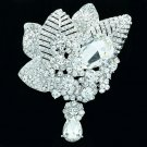 Brilliant Clear Rhinestone Crystals Teardrop Leaf Flower Brooch Pin Wedding 6408