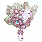 Pink Rhinestone Crystals Teardrop Cute Leaf Flower Brooch Broach Pin 6408