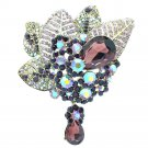Purple Rhinestone Crystals Teardrop Pretty Leaf Flower Brooch Pin For Party 6408