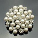 Artificial Pearl Rhinestone Crystals Charm Flower Brooch Pin For Wedding FB1200