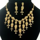 Chic Brown Rhinestone Crystals Skull Heads Cross Necklace Earrings Set Halloween