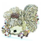 Wonderful Brown Rhinestone Crystals Flower Butterfly Animal Brooch Pin  6407