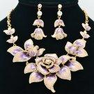 Purple Flower Rose Necklace Earring Jewelry Set Enamel Swarovski Crystal SNA2807