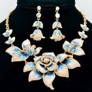 Blue Flower Rose Necklace Earring Jewelry Set Enamel Swarovski Crystals SNA2807