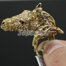 Vogue Solid Animal Horse Cocktail Ring 9# W/ Brown Rhinestone Crystals SR1800-2