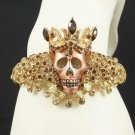 Popular Brown Crown Skull Skeleton Bracelet Bangle Cuff Rhinestone Crystals1398