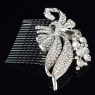 Pretty Bowknot Flower Hair Comb Rhinestone Crystals Wedding Bride Jewelry 4669FS