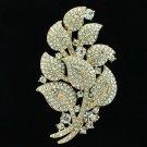 Chic Clear leaf Brooch Broach Pin Rhinestone Crystals Women Wedding Jewelry 4235