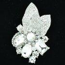 Wonderful Clear Rhinestone Crystals Floral Leaf Pendant Brooch Pin Wedding 6416