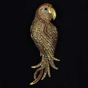 "Vintage Style Rhinestone Crystals Pendant Brown Bird Parrot Brooch Pin 4.7"" 6404"