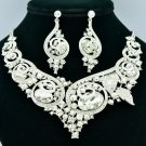 Fashion Clear Rhinestone Crystal Oval Flower Necklace Earrings Set Wedding 00577
