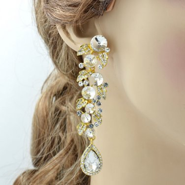 Vogue Bridal Clear Leaf Drop Pierced Earring Rhinestone Crystal Gold Tone 131831
