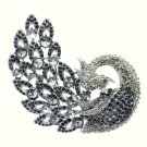 "Exquisite Animal Black Rhinestone Crystals Feather Peacock Brooch Pin 3.7"" 6021"