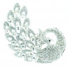 "Brilliant Animal Clear Rhinestone Crystals Feather Peacock Brooch Pin 3.7"" 6021"